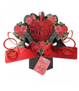 Ευχετήρια Κάρτα 3D Suki PopUp Αγάπη & Λουλούδια