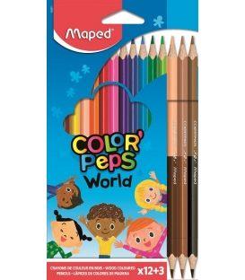 Ξυλομπογιές Maped 12+3χρ World ColorPeps