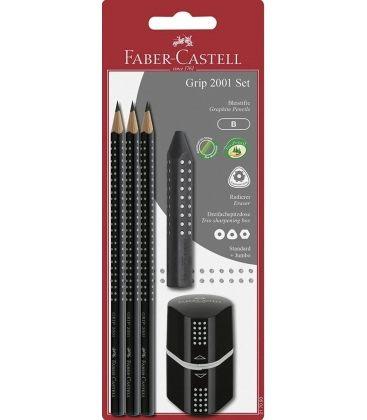 Σετ Faber Castell Grip Μαυρο 3 Μολύβια Γόμα & Ξύστρα