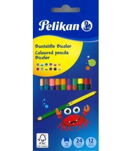 Ξυλομπογιές Pelikan 24χρ 12τ Διπλές