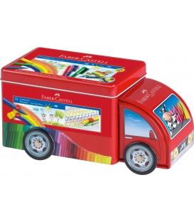 Μαρκαδόροι 33χρ Faber Castell Connector Κασετίνα Μεταλλική Φορτηγό