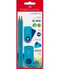 Σετ Faber Castell Μολύβια Γόμα Ξύστρα blue Μπλε