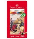 Ξυλομπογιές Faber Castell σε μεταλλική κασετίνα 12 χρώματα
