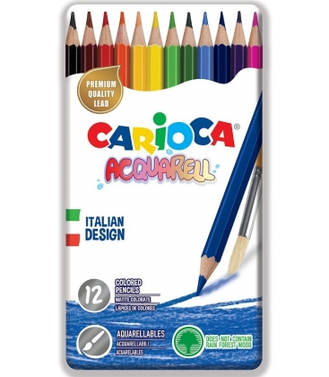 Ξυλομπογιές Ακουαρέλας Carioca σε μεταλλική Κασετίνα 12 Χρ.