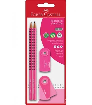 Σετ Faber Castell Grip Ροζ 2 Μολύβια Γόμα & Ξύστρα