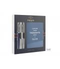 Στυλό PARKER Jotter CR London Royal Blue Steel Ballpoint Pens Duo Set Notebook