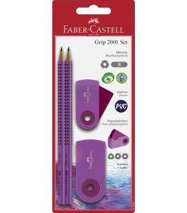 Σετ Faber Castell Grip Μωβ 2 Μολύβια Γόμα & Ξύστρα
