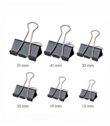 Πιάστρες Κλιπ Spree 15mm 12τεμ Binder Clips Μαυρα