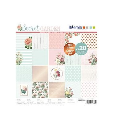 Χαρτί μπλοκ Artemio 30 cm Secret Garden 40 φύλλα