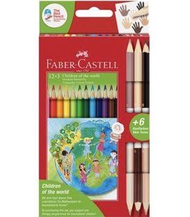 Ξυλομπογιές Faber Castell 12χρ 3 διπλές Children of the world