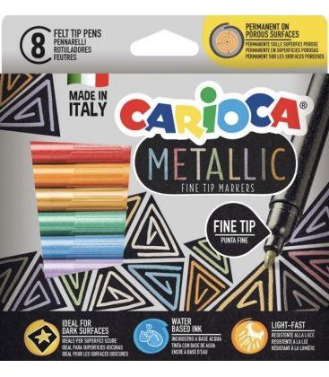 Μαρκαδόροι Carioca 8χρ Μεταλλικοί Fine Tip